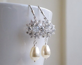 Bridal Earrings Swarovski Ivory Pearl Cushion CZ Sterling IE8P