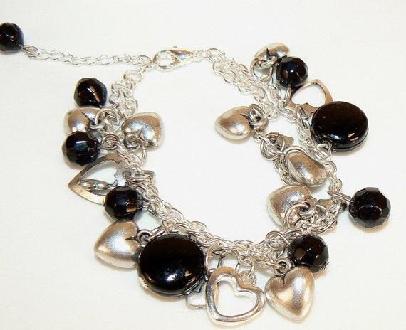 Black Charm Bracelet, Silver Bracelet, Heart Bracelet, Charm Bracelet, Heart Charms, Heart Jewelry, Valentines Gift, Everyday Bracelet