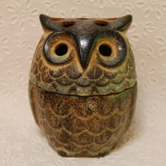 Mid Century Ceramic Owl Pomander Japan