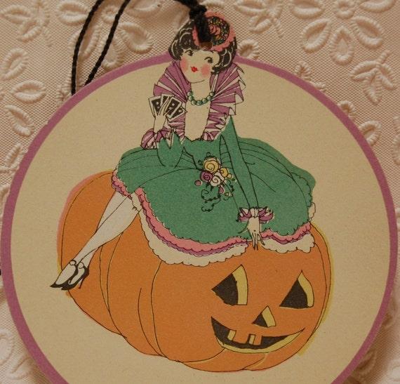 SALE:  Vintage Halloween Lady Sitting on Jack-O-Lantern Tally Art Deco