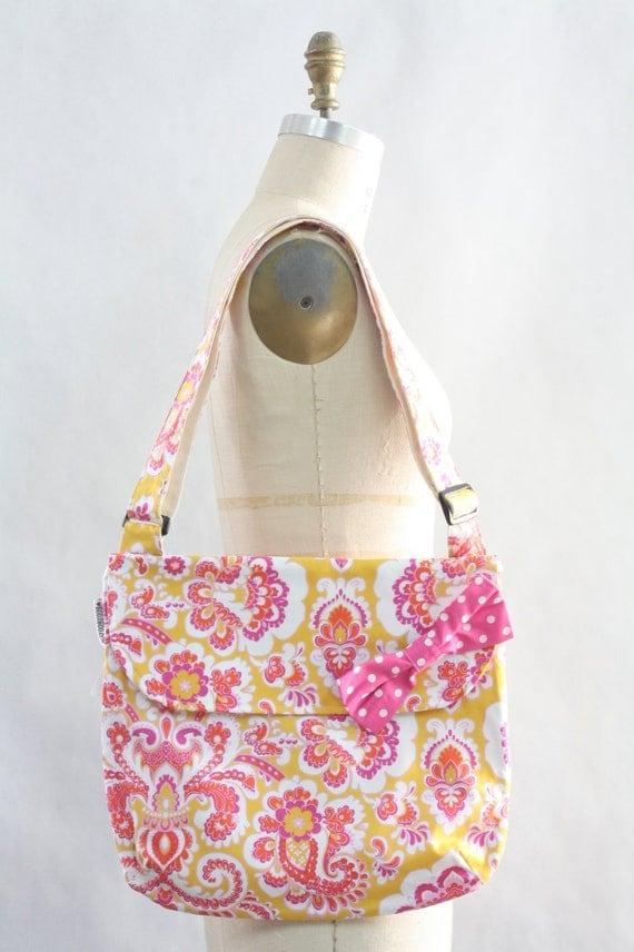 Messenger Bag Pink Yellow Paisley Purse