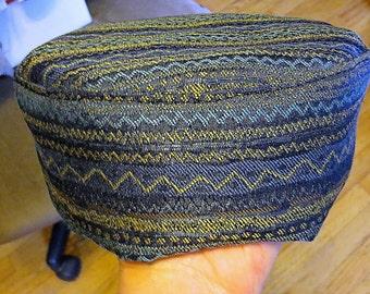 Stunning Sephardic tapestry kippah blue southwest style weave yarmulke --select your size