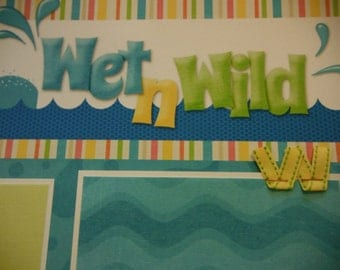 Wet n' Wild Premade 12x12 Scrapbook Pages for the Beach Boy GIRL SUMMER Pool
