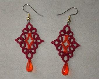 VA Tech Maroon & Orange tatted earrings, tatting jewelry, Hokie, Virginia Tech, lightweight, large earrings, handmade lace