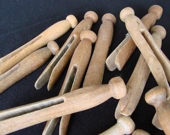 15 Vintage Wooden Push Clothespins Clothes Pin Rural Americana