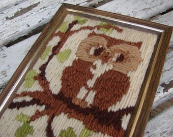 Vintage Crewel Embroidery Framed Owl Picture