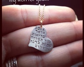 I am wishing YOU ..... Hebrew Sterling Silver Heart Necklace  - Rosh Hashanah Blessings Necklace ---Original Design By SimaG