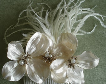 Bridal Hair Wedding Hair Floral Hair Comb Pearl Dogwood Fascinator Wedding Headpiece