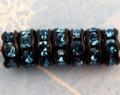 Rhinestone Rondelle Black Aqua Blue, 6 mm 12 Pc. C243