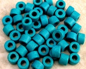Mini Tube Greek Ceramic Beads 6x4 mm Turquoise 50 Pieces M145