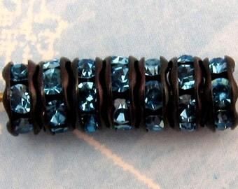 Rhinestone Rondelle Black Aqua Blue, 6 mm 12 Pc. C243