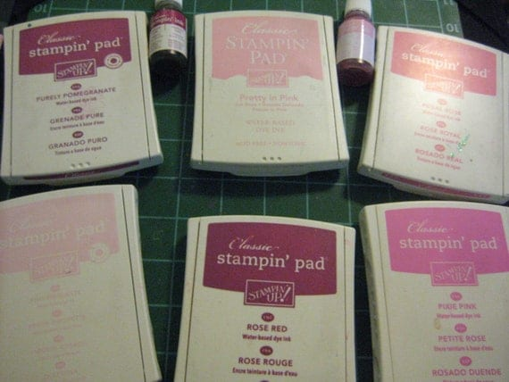 Destash: Stampin Up Six Stamp Pads in Pinks with 2 refills