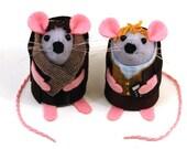 Sherlock and Watson Mice BBC versions Mouse ornament felt rat cute Arthur Conan Doyle fan book collector - in stock