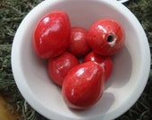 6 Red Oval Beads