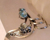 SALE Sterling Blue Topaz Bracelet - HEAVY Modernist Vintage Silver Cuff Bracelet With Big Blue Topaz - 7 Inch Wrist