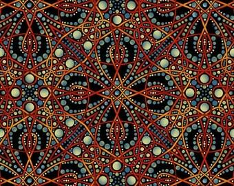 Deco Geometric Fabric Green Red Blue 1 Yard 4DEC1