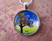 Two Crows flower tree of life moon miniature giclee print pendant