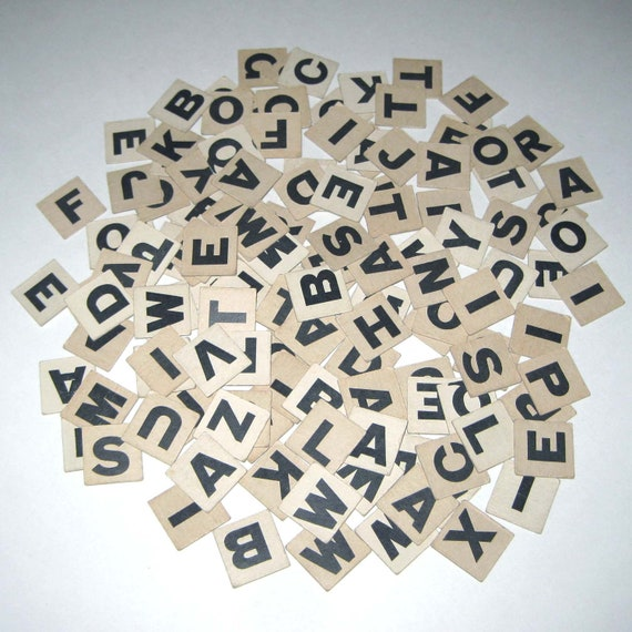 Vintage 1940s Ivory Anagrams or Letter Tiles or Game Pieces Lot of 131