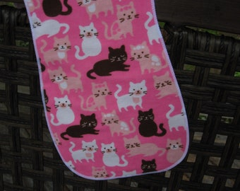 burp cloth Pink and brown cats, Kittens, Last one of this print