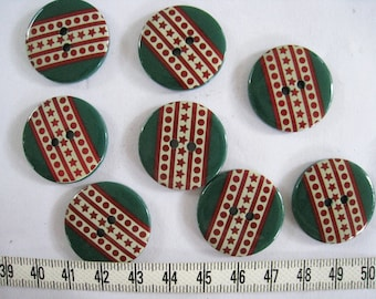 14 pcs of  Forest Green Graphic Button - 25mm LAST SET