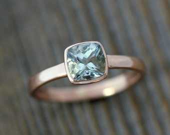 Aquamarine and Rose Gold Ring, Aquamarine Cushion Cut Solitaire, Diamond Alternative Engagement, Blue Gemstone, March Birthstone Jewelry