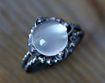 White Moonstone Ring,  Gemstone Ring in Recycled Sterling Silver, Made in Your Size
