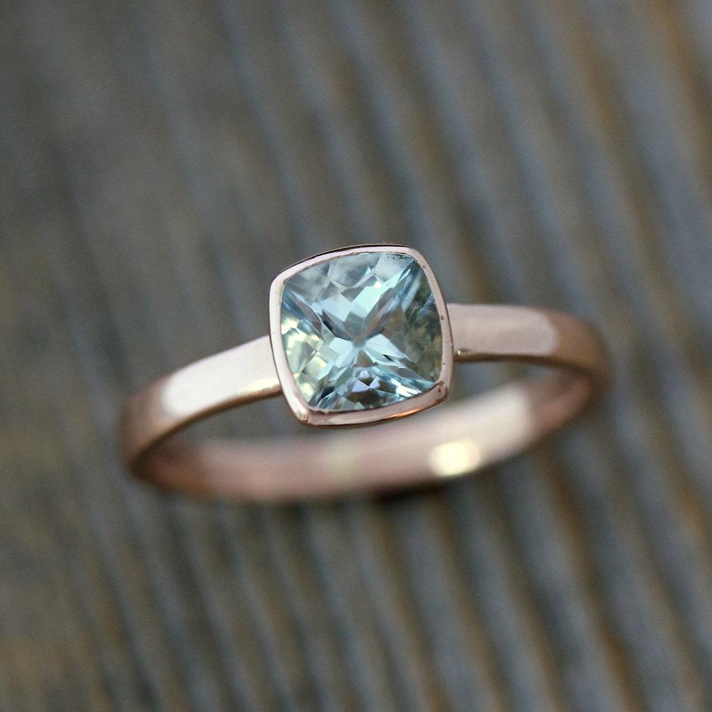 cushion aquamarine aquamarine wedding rings Aquamarine and Rose Gold Ring Aquamarine Cushion Cut Solitaire Diamond Alternative Engagement Blue Gemstone March Birthstone Jewelry