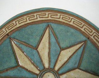 Hot Plate / Trivet / Compass Point Star carved design Decorative Wall Hanging Nautical Stoneware - Free Shipping