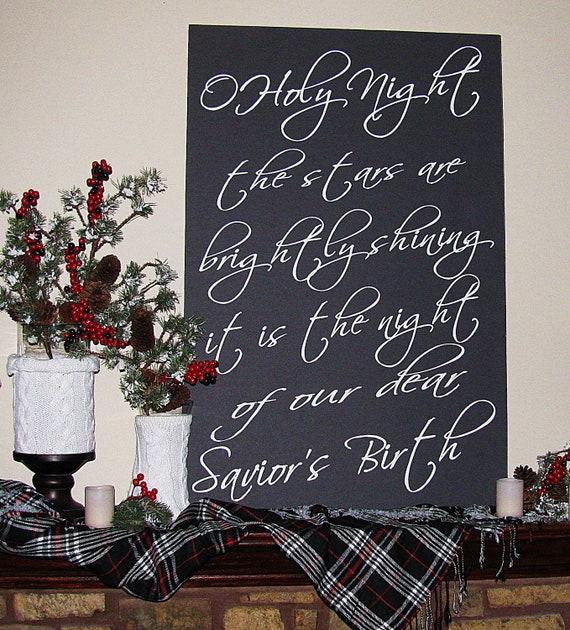 Large O Holy Night Christmas Carol Song Chalkboard like Typography Sign
