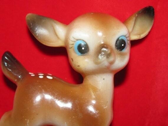 Vintage 1960's Christmas Reindeer, Plastic Reindeer, Blue Eyed Doe