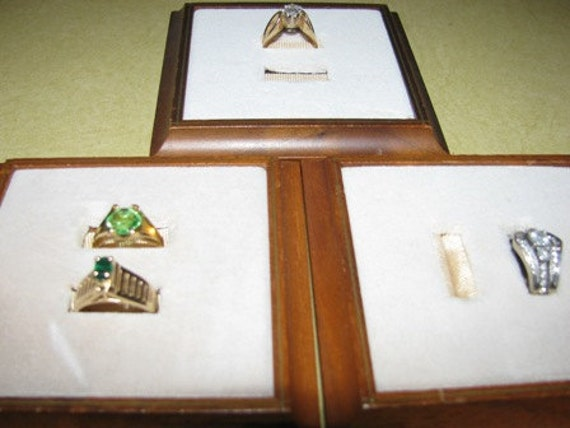 Jewelry Displays,  Vintage Retail Wood Ring Displays (3), Cream Velvet Color, Diamond Ring Display, Perfect for the Antique Shop Dealer