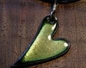 Heart Necklace, Green Heart Pendant, Enamel Heart Jewelry, Copper Enamel Jewelry