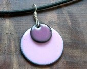 Pink and Purple Necklace, Enamel Jewelry, Copper Enamel Pendant, Pink Necklace, Purple Necklace, Pastel Colors
