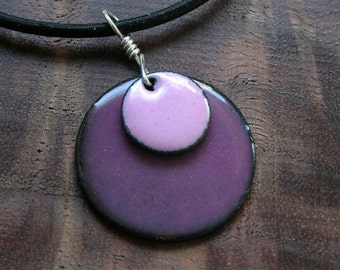 Enamel Necklace, Pink and Purple Necklace, Copper Enamel Pendant, Pink Necklace, Purple Necklace, Pastel Colors