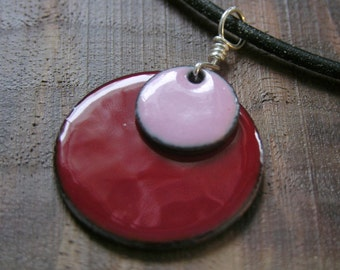 Pink and Red Copper Enamel Necklace handmade pendant on a stretchy silicone cord