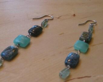 Insouciant Studios Ocean Side Earrings  Fluorite Kyanite Hemimorphite