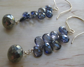 Insouciant Studios Shade Grown Earrings Iolite Pyrite
