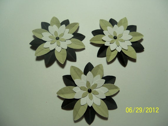 Clearance Priced - Handmade Punched Sage Green, Black & White Flowers (F94)