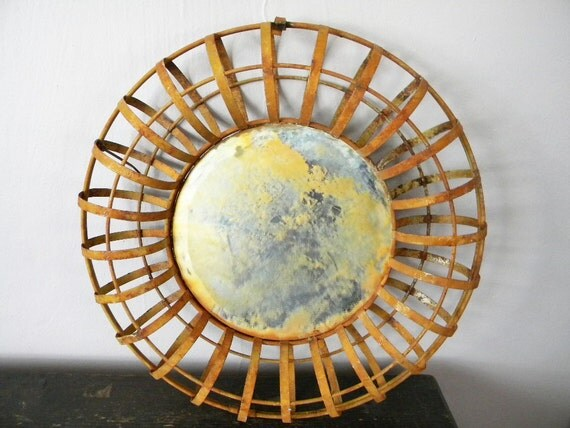 Rusty Vintage Metal Found Object Mirror