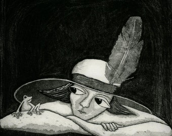etching, Feather in my Hat, black and white, frog, hat, prince, love, romance, dating, home interior, monochrome, printmaking, modern art,