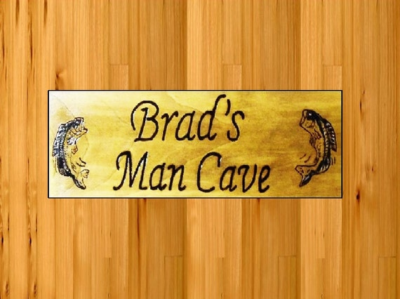 Personalized signs MAN CAVE free personalized name with fish artwork