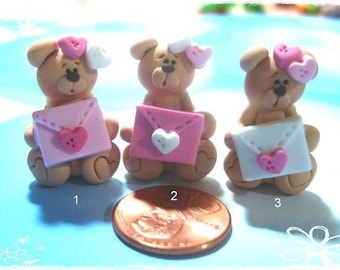 Bear wt LOVE letter Polymer Clay Charm Bead Scrapbooking Embelishment Bow Center Pendant Cupcake Topper
