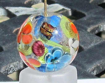 Brights - Floral Lampwork Beads - Butterfly Focal