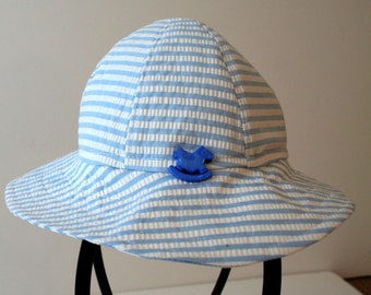 OOAK Baby Sun Hat Recycled Blue and White Striped Cotton Age 6-12 months