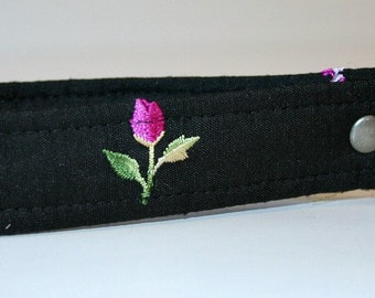 Recycled Black Embroidered Silk Key Wristlet OOAK