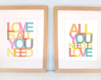 All You Need Is Love, Love is All You Need, Beatles, favorite sayings, inspirational quotes, nursery art, ready to ship, LARGE SET