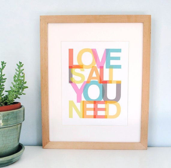 Love is All You Need, Beatles, favorite sayings, quote print, inspirational quotes, modern nursery, typography, ready to ship, 8x10