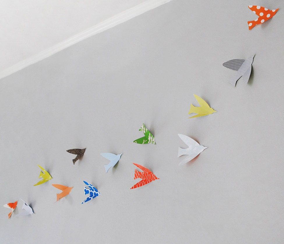 Wall Decoration With Paper Birds