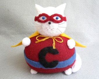 Super Cat Pincushion - White Version - cute felt kitty cat collectable Gift for sewer Gift for cat lover - MTO