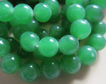 Vintage Glass Beads (10) Handmade Japanese Lime Green Beads